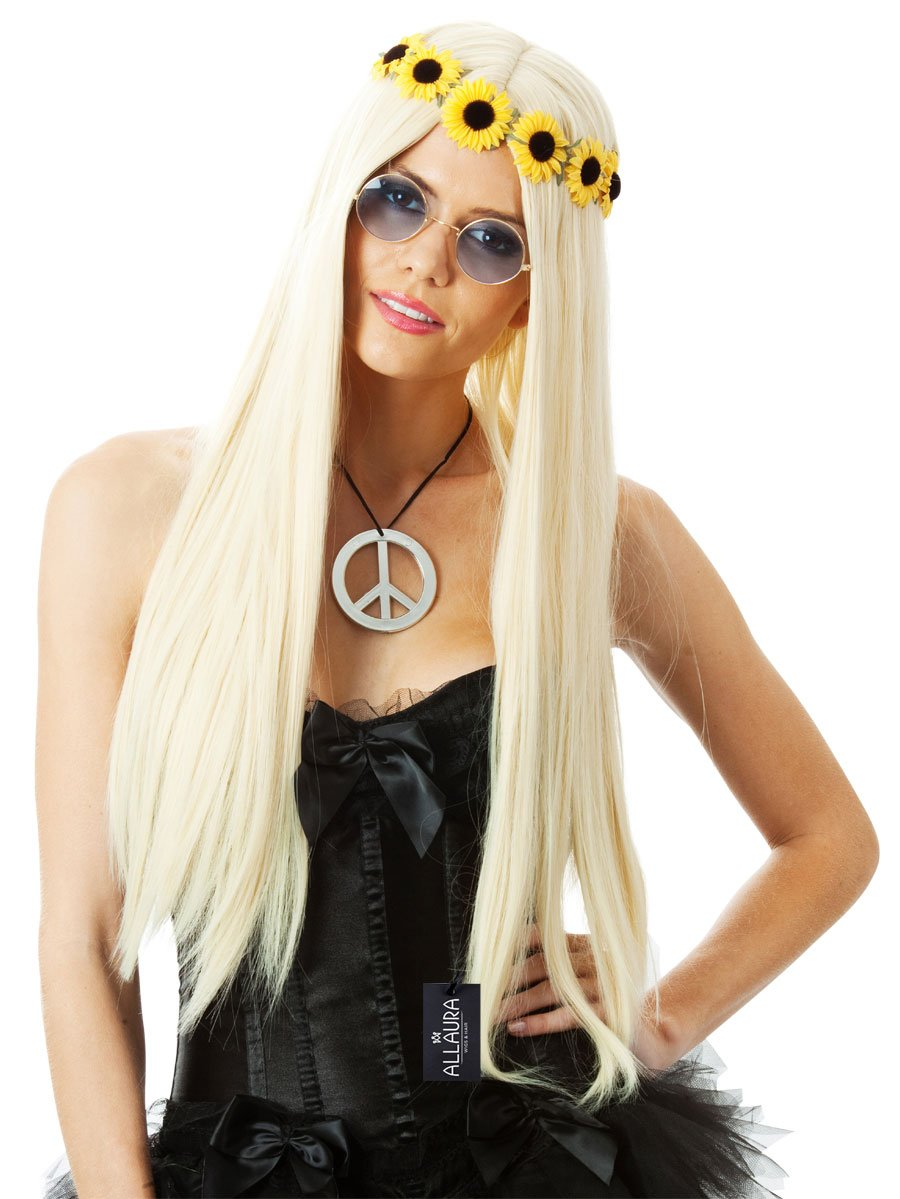 ALLAURA Blond Hippie Wig – 70's Costumes for Women - Long Blonde Wig Straight Hair Wigs