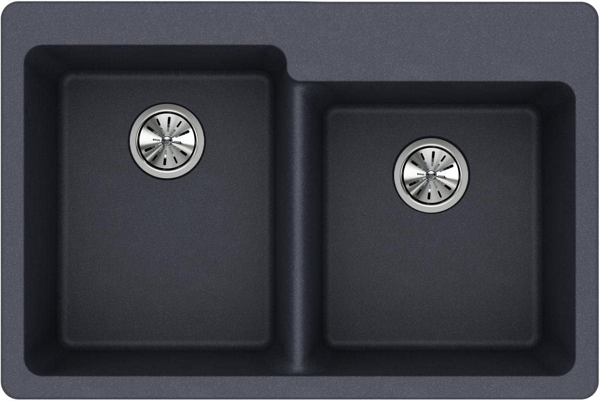 Elkay ELG250RGY0 Quartz Classic Offset Double Bowl Drop-in Sink, Dusk Gray