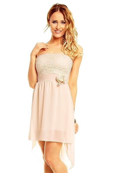 fa39bdf346f0 Princess Brautmoden Sexy Vokuhila Partykleid, Abendkleid, Cocktailkleid aus  Chiffon, beige Creme  Amazon.de  Bekleidung