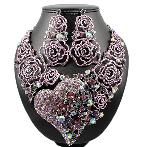 Hope Rhinestone Necklace - Janefashions Rose Heart Purple Austrian Rhinestone BIB Necklace Earrings Set Bridal N1639P (Pink)