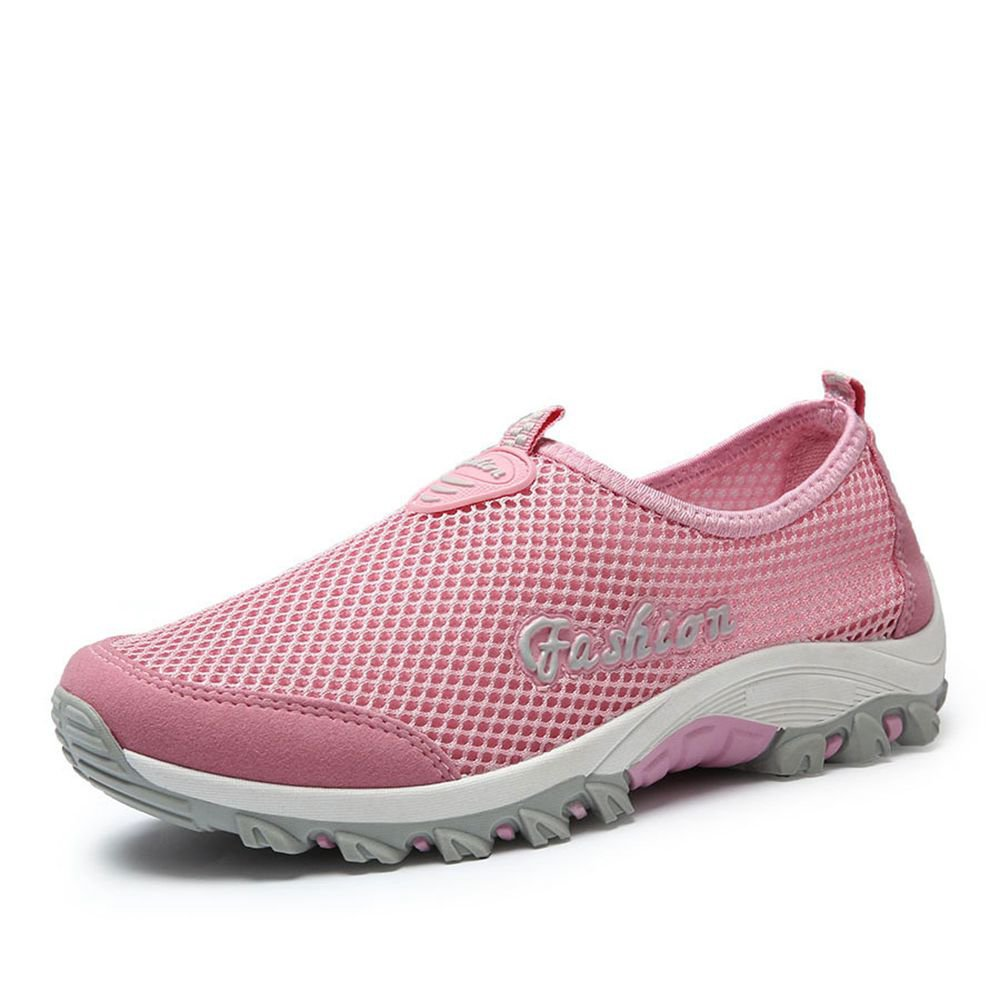 Zapatos atléticos para Mujer 2018 Primavera, Verano, Otoño Zapatillas de Deporte de Malla Casual - Zapatillas de Deporte Transpirables Gran Tamaño para Mujer (Color : Rosado, Tamaño : 40) 40|Rosado