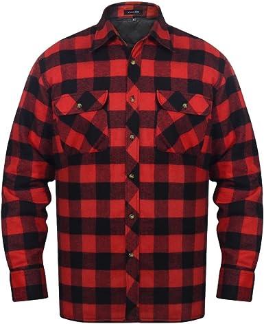vidaXL Camisa Acolchada Trabajo Franela tartán a Cuadros Rojo-Negro para Hombre Talla L: Amazon.es: Ropa y accesorios