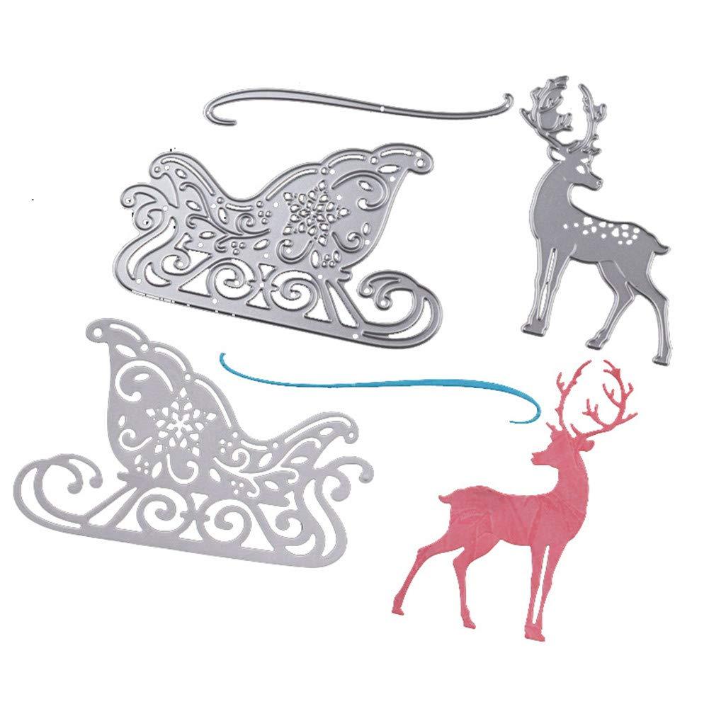 WYSE Metal Cutting Die cuts Christmas Deer Dies for DIY Scrapbooking Paper Stencil Embossing Card Template 3pcs Deer Dies