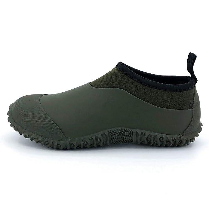 SYLPHID Unisex Waterproof Garden Shoes Womens Neoprene Rain Boots Mens Car Wash Footwear (9 M US Women/8 M US Men, Dark Green)