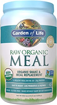 Garden of Life Meal Replacement Lightly Sweet Powder, 28 Servings, Organic Raw Plant Based Protein Powder, Vegan, Gluten-Free
