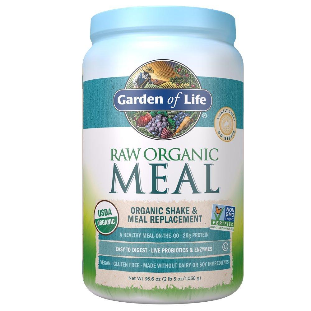 Garden of Life Meal Replacement - Organic Raw Plant Based Protein Powder, Lightly Sweet, Vegan, Gluten-Free, 36.6oz (2lb 5oz/1,038g) Powder