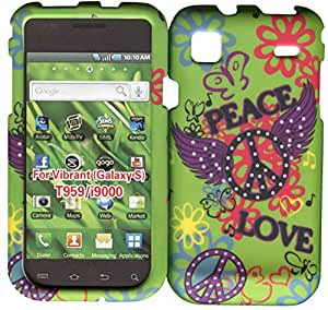 Green Peace & Love Samsung Galaxy S Vibrant T959, i9000 Case Cover Hard Phone Case Snap-on Cover Rubberized Frosted Matte Surface Hard Shells