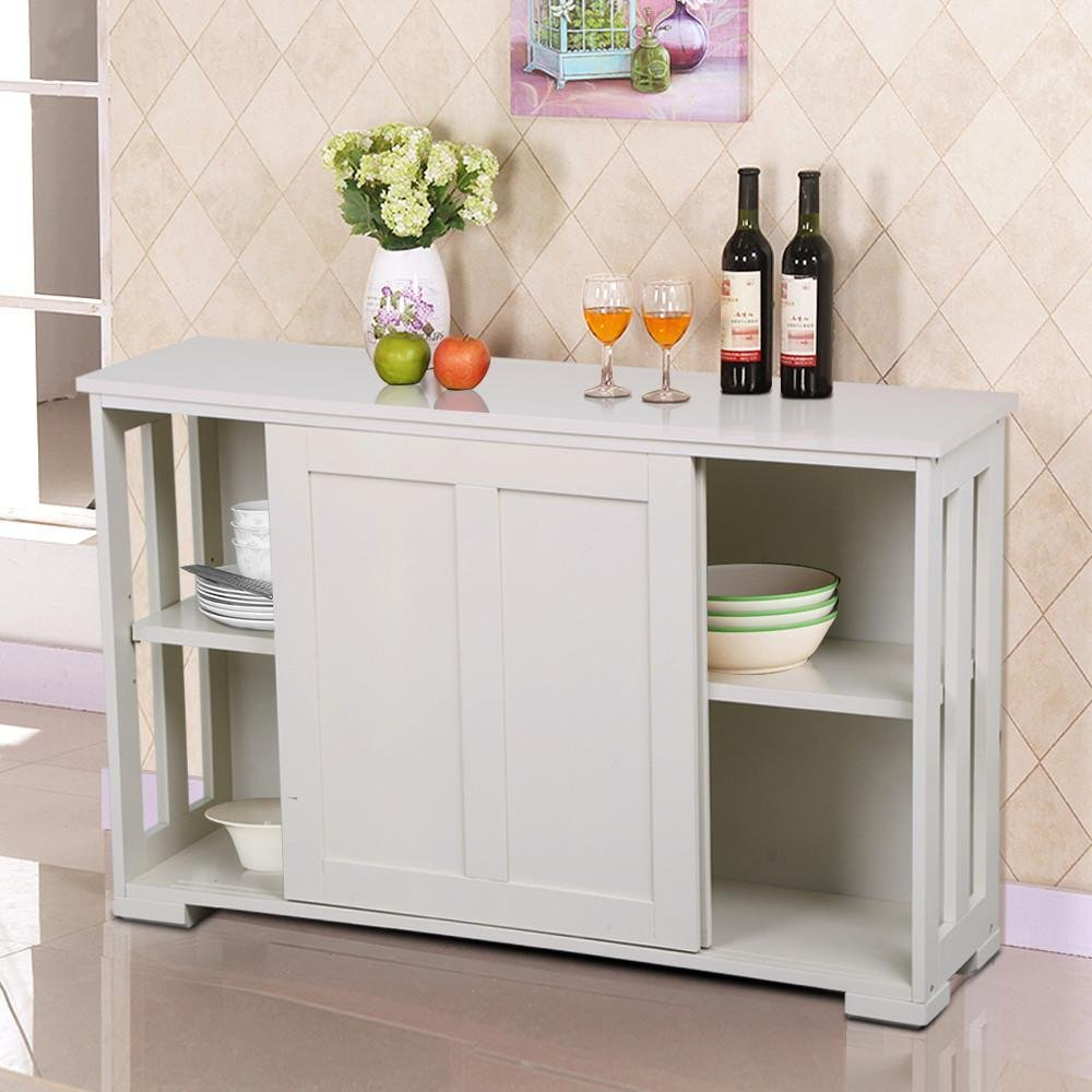 go2buy antique white stackable sideboard buffet storage cabinet with sliding door kitchen dining room furniture - Dining Room Hutch And Buffet