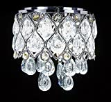 New Galaxy Modern LED Crystal Chandelier Chrome Metal Shade Flushmount Ceiling Lighting Fixture, #812