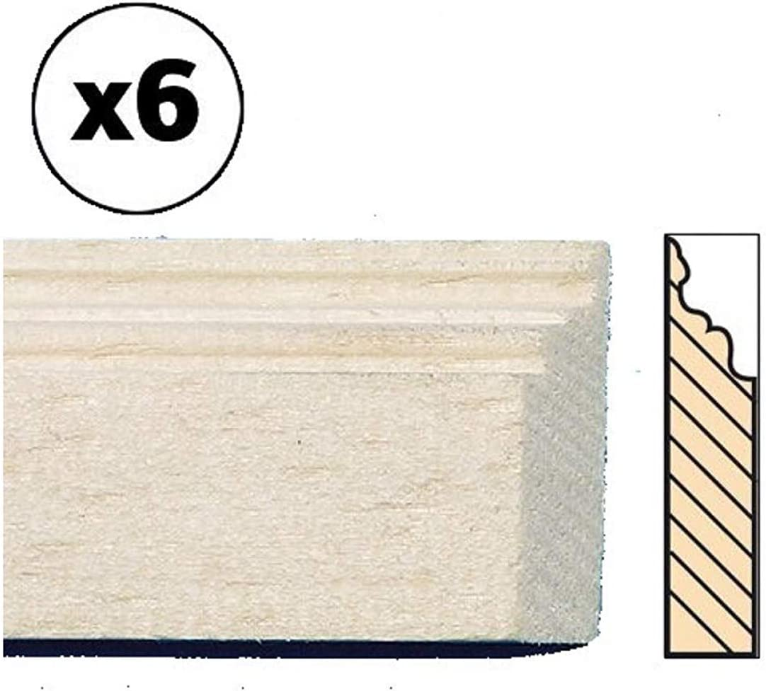 Melody Jane Dollhouse Bare Wood Skirting Board Baseboard 30cm 12 Long Pack of 6