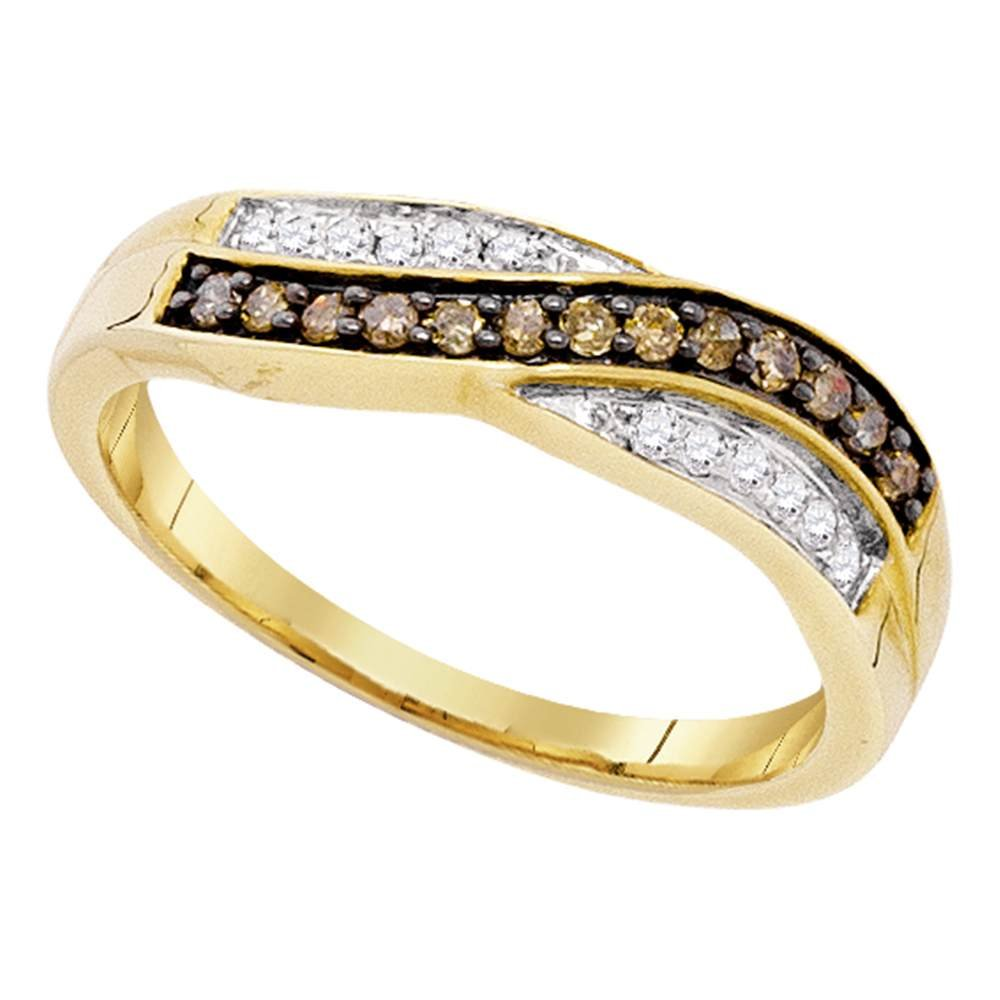 Brown Diamond Fashion Band Solid 10k Yellow Gold Curve Ring Chocolate Round Crossover Style Fancy 1/4 ctw