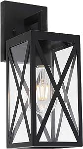 MELUCEE 1-Light Exterior Light Fixtures Wall Mount Black Waterproof Porch Light, Outdoor Wall Lantern with Clear Glass for Front Door Patio Yard Garage