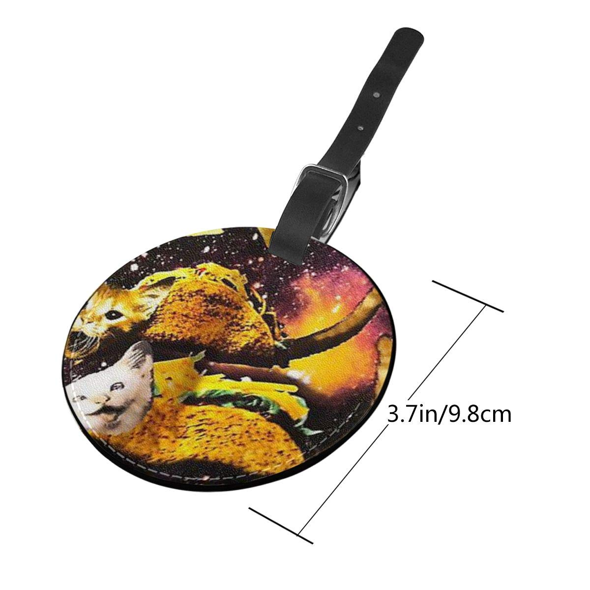 Simoner Galaxy Taco Cat Round PU Leahter Luggage Tags Privacy Protection Travel Bag Labels Suitcase Tags
