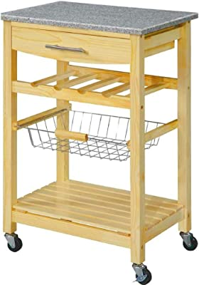 EFD Modern Kitchen Island Cart On Wheels With Granite Counter Top Rolling  Wooden Cart With Bottle