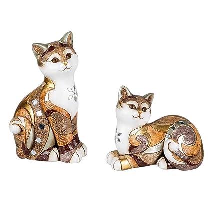 Juego de 2 figuras decorativas Gatos sentado y tumbado Antiguo pintado a mano blanco beige marrón