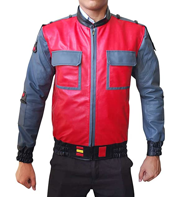 fb5a8b030b255 NMFashions Back to The Future Men's Bomber Jacket Red at Amazon ...