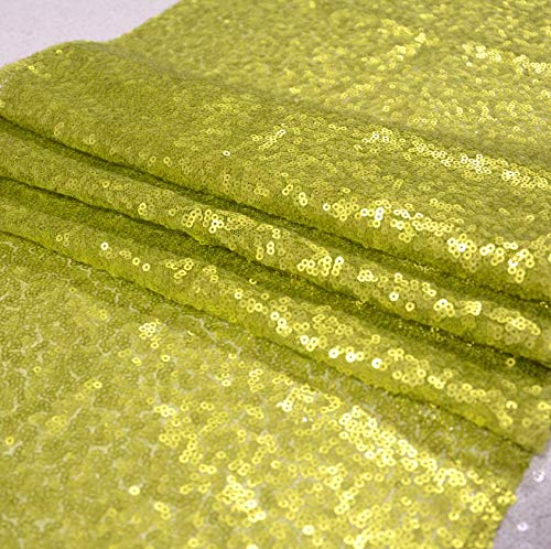 ShiDianYi 3 Feet 1 Yards-Lime Green-Sequin Fabric-by The Yard, Sequin Fabric, Linens, Tablecloth, Table Runner, Table Overlay, Sequin Backdrop Decor (Lime ()