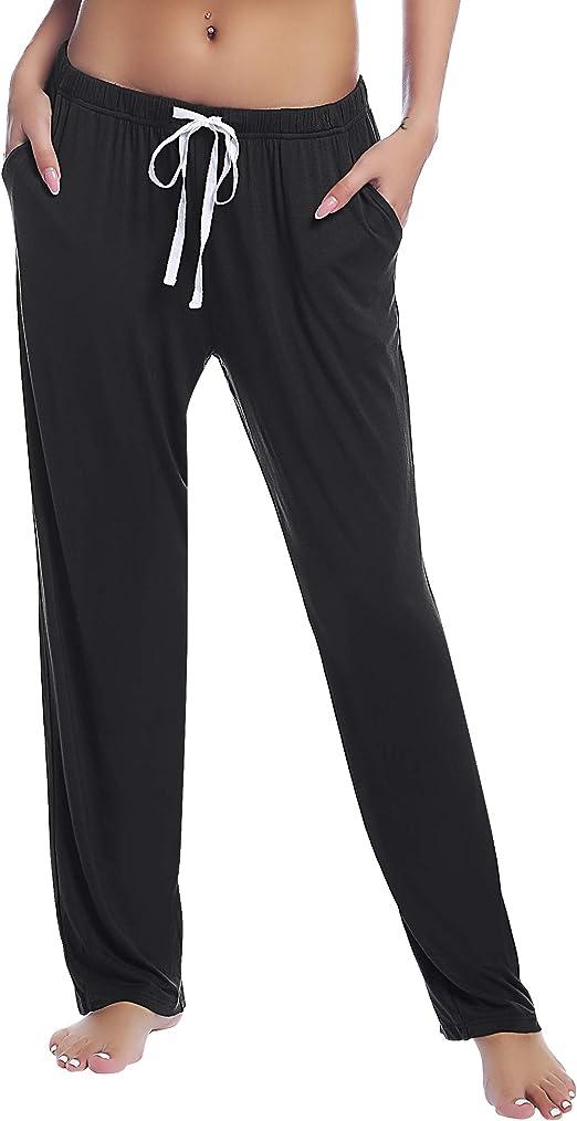 FABRACK Womens Lounge Pants Pajama Bottoms Yoga Pants Comfy Drawstring Loose Straight with Pockets