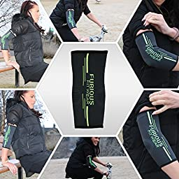 Elbow Compression Sleeve Support for Golf & Tennis Elbow, Bursitis, Biceps, Triceps & Arm Tendonitis - Brace for Basketball, Volleyball, Weight Lifting, Workout, Gym & Athletic Sports - Single Wrap