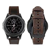 iBazal 20mm Cinturino Rilascio Rapido Pelle Cinturini Cuoio Bracciale per Huawei Watch 2/Samsung Gear S2 Classic/Gear Sport/ TICHWATCH 2/ Garmin Vivoactive 3 / Vivomove HR Smart Watch etc. - Semplice Caffè