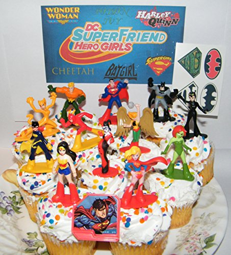 DC Super Friend Hero Girls Deluxe Mini Cake Toppers Cupcake Decorations Set of 14 with Figures, a Sticker Sheet and Toy Ring Featuring Wonder Woman, Supergirl, Batgirl and -