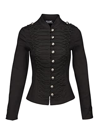 check out 4ef13 dc41e Pretty Attitude Schwarze Damen Gothik Steampunk Military Jacke mit Knöpfen