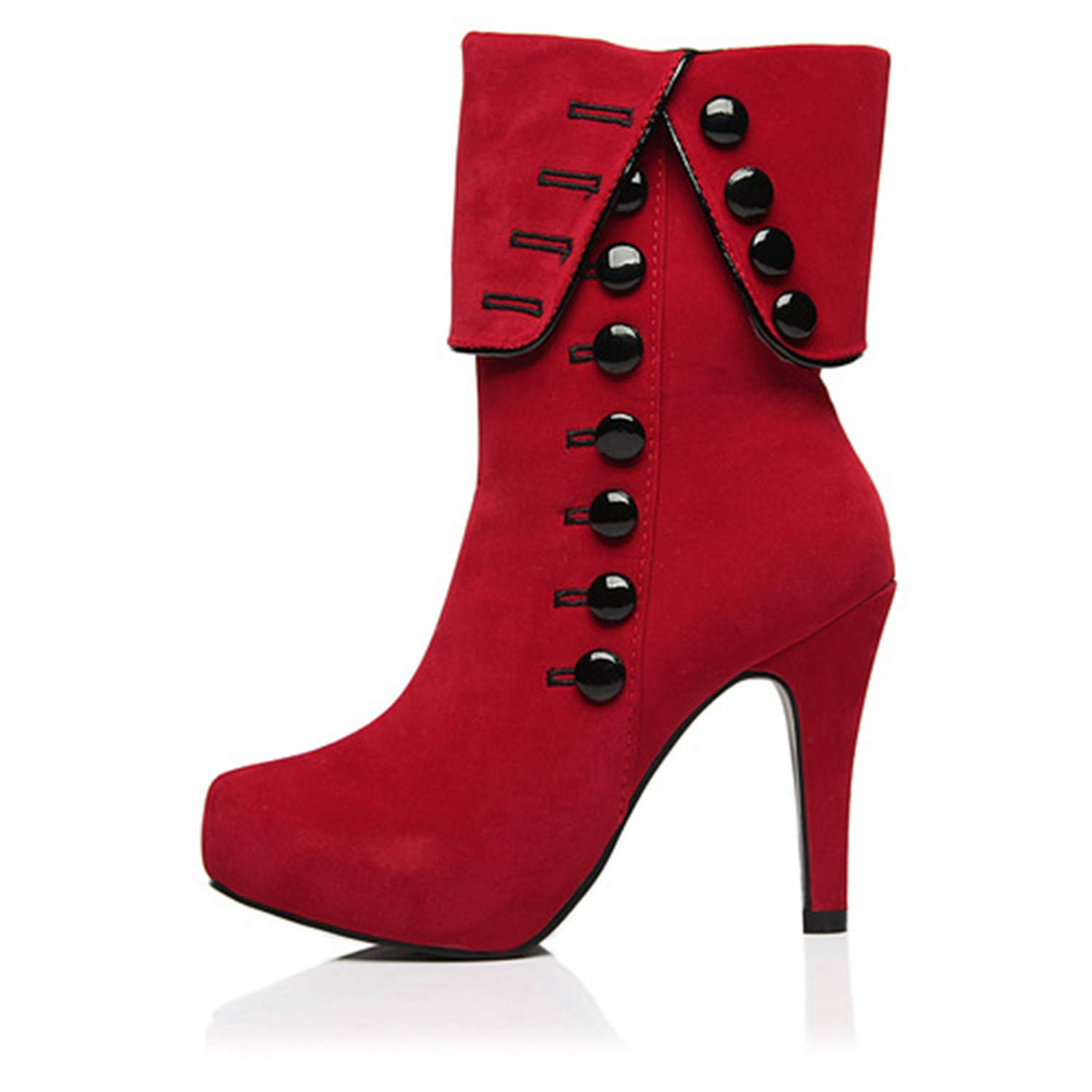 Women's Red Victorian Black Button High-Heel Cuff Cheap Pirate Ankle Boot - DeluxeAdultCostumes.com