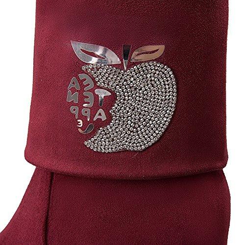 AllhqFashion Mujeres Caña Alta Sin cordones Puntera Redonda Sólido Cuña Plataforma Botas Rojo