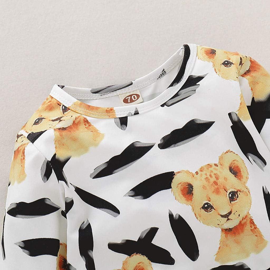 Smilvy Infant Lion Outfits Baby Cotton Pajamas Cartoon Play Romper Toddler Clothes 0-24 Months Cute Romper Jumpsuit