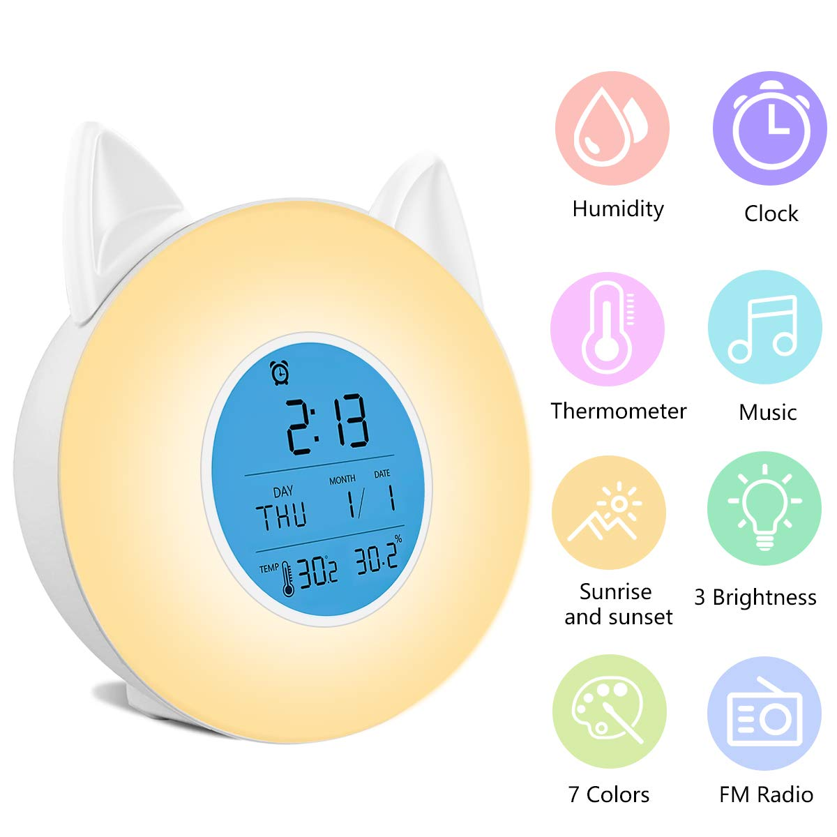 RegeMoudal Wake Up Light Alarm Clock,Sunrise//Sunset Simulation Led Table Bedside Lamp with FM Radio,4 Music Sounds,7 Changing Colors,Humidity and Temperature Display