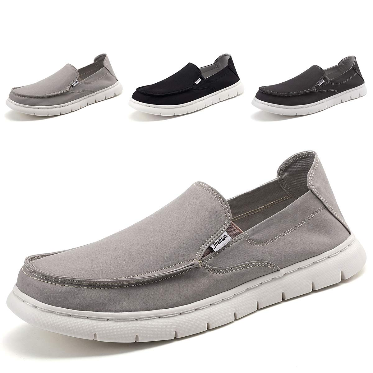 clear and distinctive classic find workmanship SONLLEIVOO Mens Deck Shoes Slip on Casual Summer Canvas Shoe Loafers Wide  Width