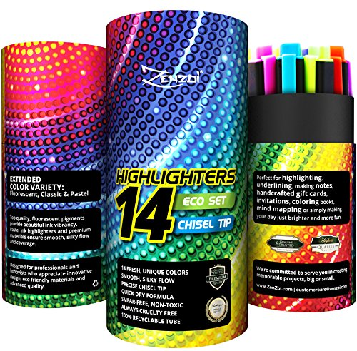 Highlighters Markers Assorted Colors Bulk Fluorescent Highlighter Marker Pens Pack Large Set Color Chisel Tip Yellow Blue Green Pink Orange Pastel (Set of 14 (ZenZoi Unique Colors))