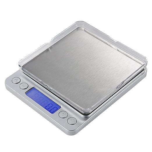 LaTEC Báscula de Cocina Digital (3000g, 0.01oz / 0.1g), Mini escalas eléctricas del bolsillo de la joyería del alimento, con Pantalla LCD retroiluminada, ...
