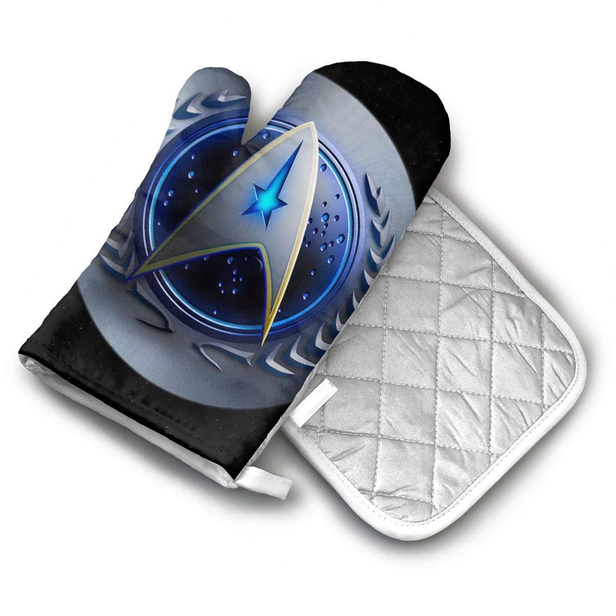 AISDHAJKSD Star Trek Federation Logo Premium Terylene/Nylon Oven Mitts and Pot Mat,Pot Mat/Hot Pads, Heat Resistant Gloves BBQ Kitchen