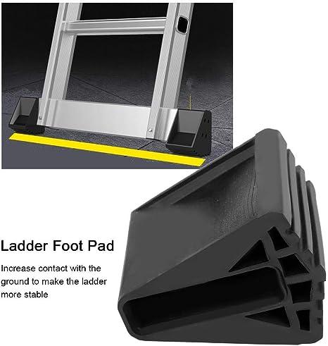 Cubiertas de pies de escalera de goma 4 piezas Juego de cubiertas de pie de escaleras antideslizantes Escalera de seguridad plegable y extensión Cojín de reemplazo de pie para superficies resbaladizas: Amazon.es: