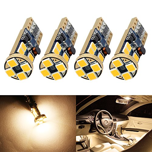 Boodled 4 X T10 W5W Canbus No Error 3030 PX Chipset 12-smd LED Bulbs for 168 194 175 Car Interior Dome Map Door Courtesy License Plate Lights Error Free (No Polarity) (3500K~4000K WARM WHITE)