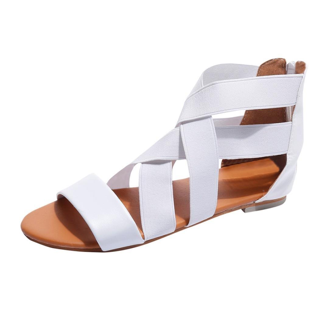 Sunbona Women Flat Gladiator Sandals Ladies Summer Ankle Cross Strap Flip Flops Casual Beach Shoes (US:8(RU/EU/CN40), White)