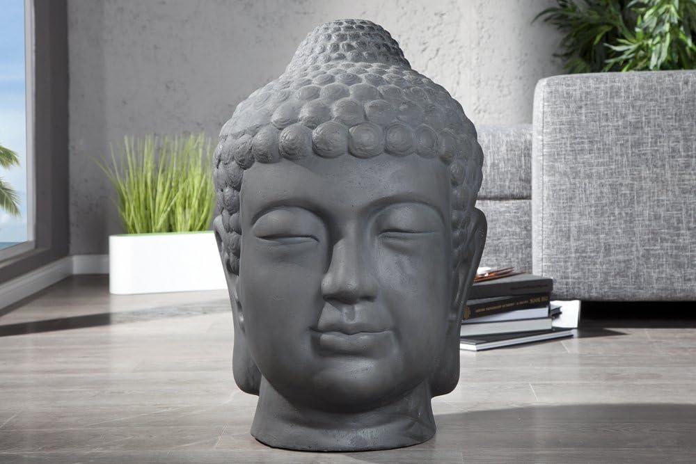 Buddha Kopf Wandhänger grau