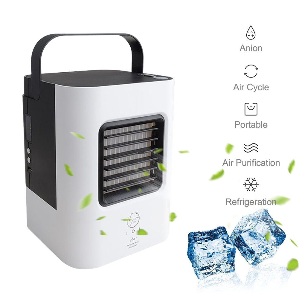 Outdoor Home BLACK Perfect for Office Gym GooDGo Mini USB Personal Air Conditioner Small Cooling Humidifier Fan with Portable Handle Desktop Quiet Cooler LED Fan for Summer