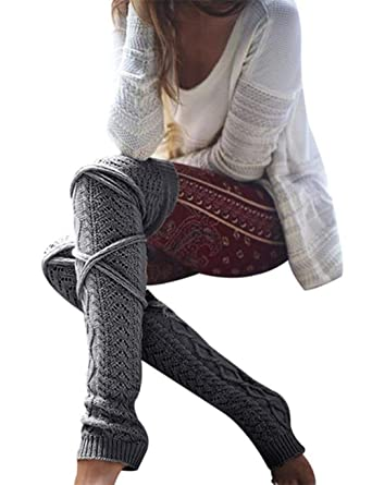 48b6f7855d6 Women Knitted Hollow Out Long Stockings Autumn Winter Bandage Leggings Thigh  High On Knee Socks Dark