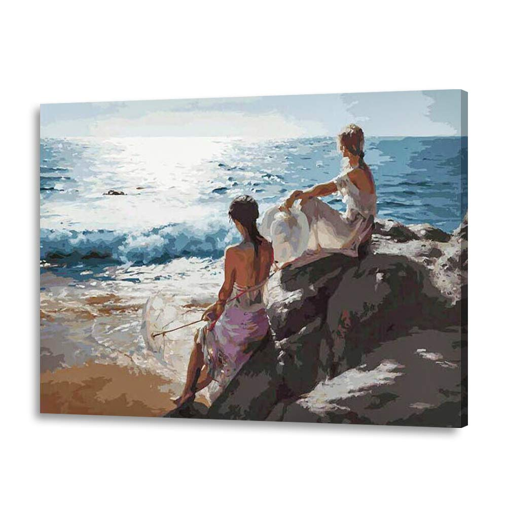 LIUDAO Paint by Number Kit - DIY Oil Painting on Canvas - Beautiful Girls Beach 16x20 Inches (Wooden Frame) by LIUDAO