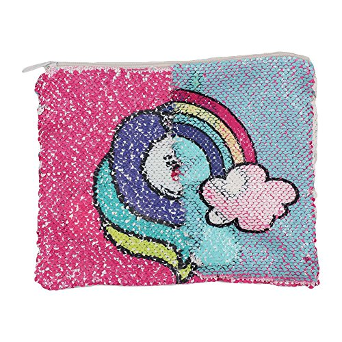 Unicorn Wallet Cosmetic Glitter Pouch Sequin Bling Magic CHUANGLI Bag Changing Reversible Purse Pouch Makeup Color FfzxOPq