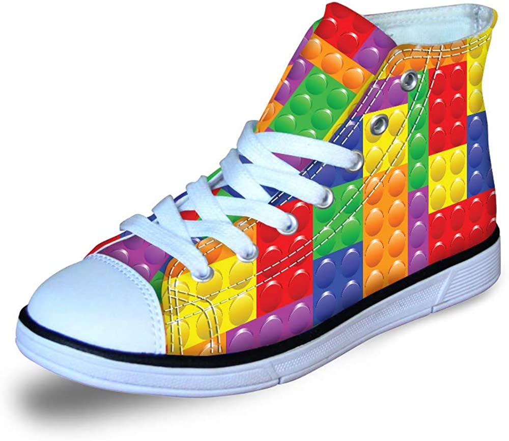 Canvas High Top Sneaker Casual Skate Shoe Boys Girls Autism Awareness Puzzle Heart Colorful Dots