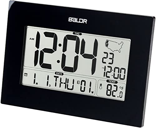 BALDR Digital Alarm Clock for Desk or Wall, Battery Operated, Self-Setting Atomic Clock with Large Display – Displays Time, Date, Weekday Indoor Temperature