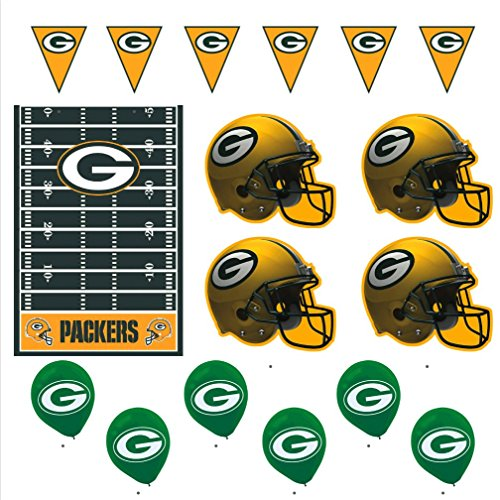 Green Bay Packers Football Decorations: Wall Helmet Cutouts, Balloons, Pennant Banner & Table Cover