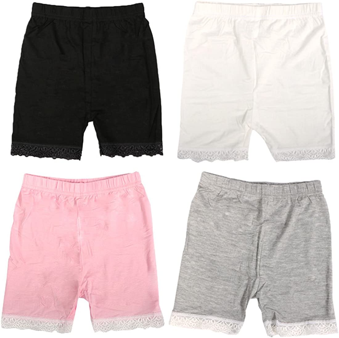 Set of 4 MyKazoe Girls Bike Shorts with Lace Trim
