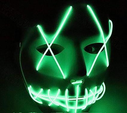 YP Máscara De Halloween LED De Luz hasta Máscara De Purga para Festival Cosplay Halloween Costumehead
