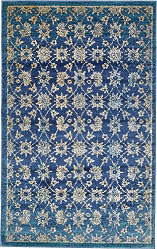 A2Z Rug Navy Blue 5' x 8' FT St. Martin Collection Area rug - Vintage Inspired Overdyed Perfect for Living Dinning Room and Bedroom Rugs, Interior Modern Floor Carpet Design