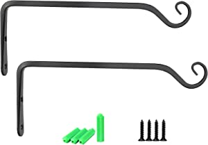 Wall Hook Hanging Plant Bracket 10 inch, Alotpower Decorative Plant Hanger for Planters, Lanterns, Bird Feeders, Wind Chimes,Indoor Outdoor (2 Pack, Black)