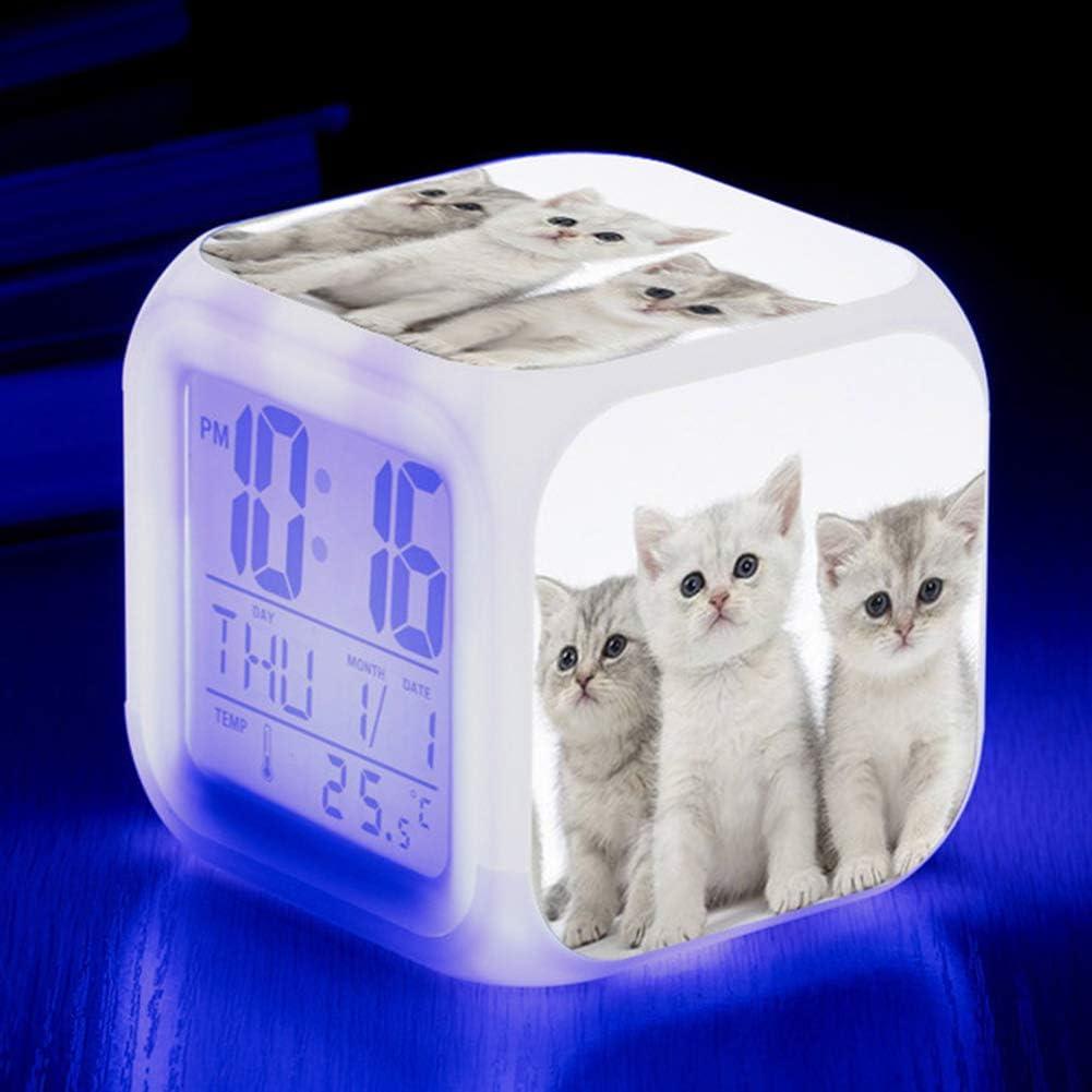 SILENTLY Réveil Chat Mignon Réveil Numérique LED 7 Couleurs pour Les Enfants Anniversaire Horloge Montre Électronique Veilleuse Cadeau,6
